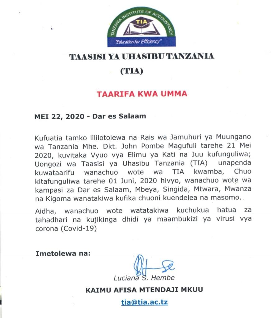 TIA Notice For All Students For Re-Opening of University