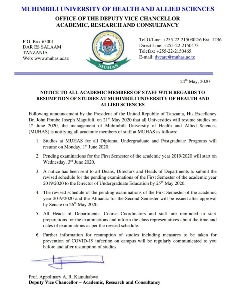 MUHAS Notice To Students And Staff, May 22