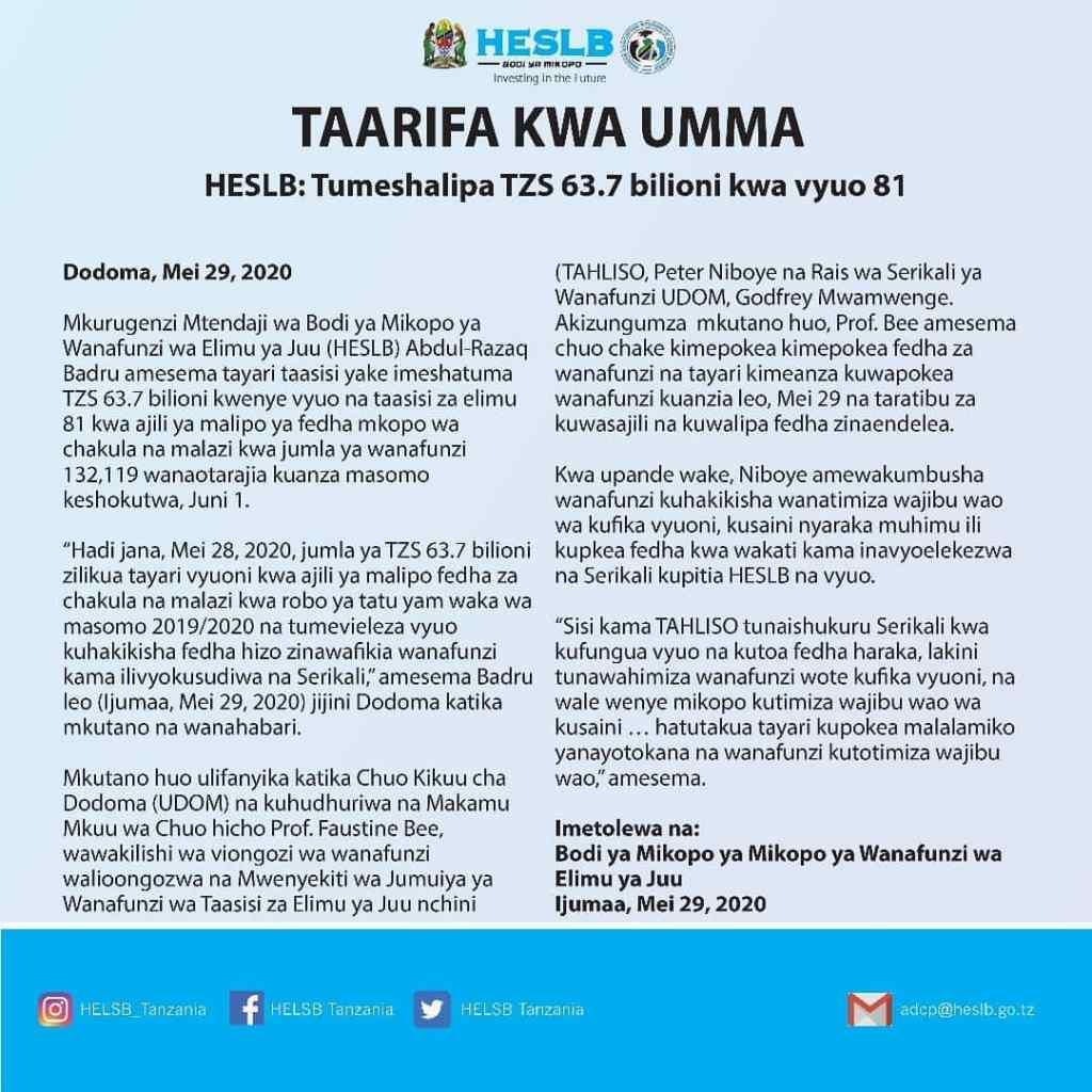 HESLB Paid TZS 63.7 Billion For 81 Universities
