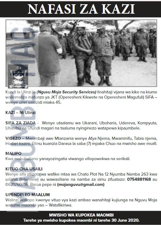 Ajira Darasa La Saba At Nguvu Moja Security LTD
