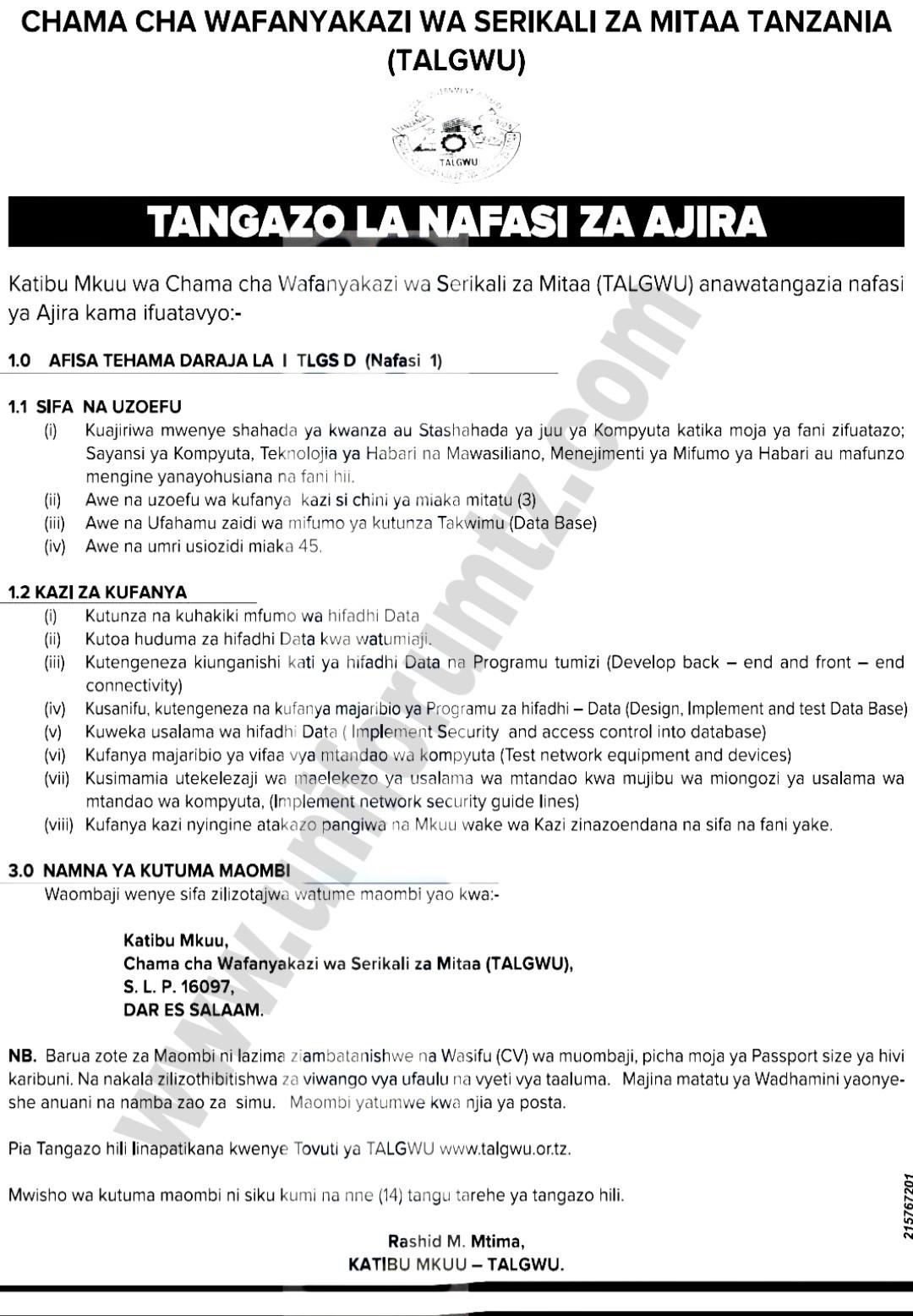 New Job Vacancy At TALGWU, June 2020