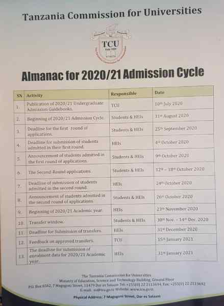 Revised TCU Almanac For Admission Cycle 2020/2021