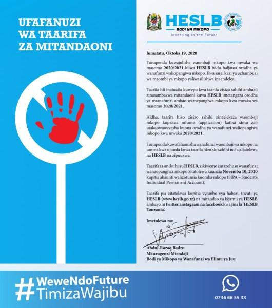 HESLB Notice To Public Date To Release Loan Beneficiaries Names. Tarehe Ya kutangaza majina ya mkopo.