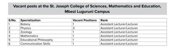 Job Opportunities At St. Joseph University in Tanzania (SJUIT)