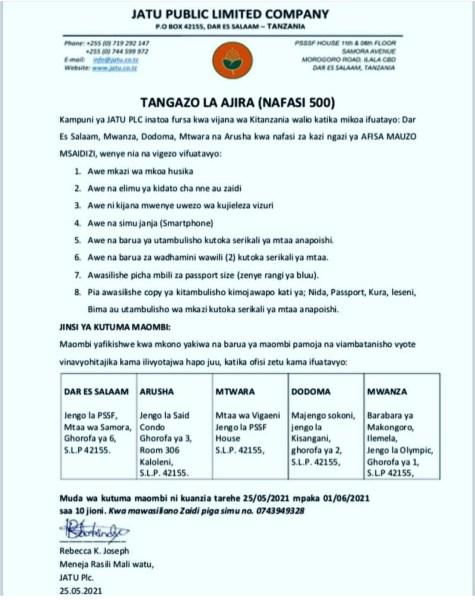 500 Job Opportunities At JATU PLC, Maafisa Mauzo Wasaidizi