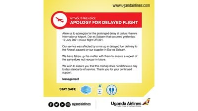 Uganda Airlines apologizes to passengers