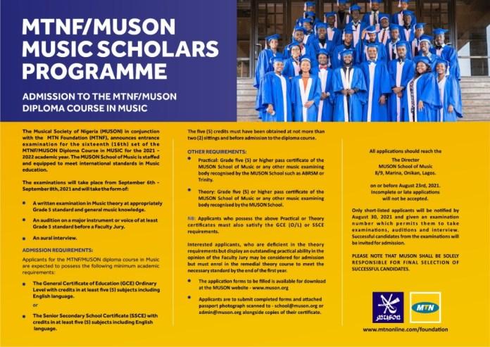 MTNF/MUSON Music Scholars Programme 2021