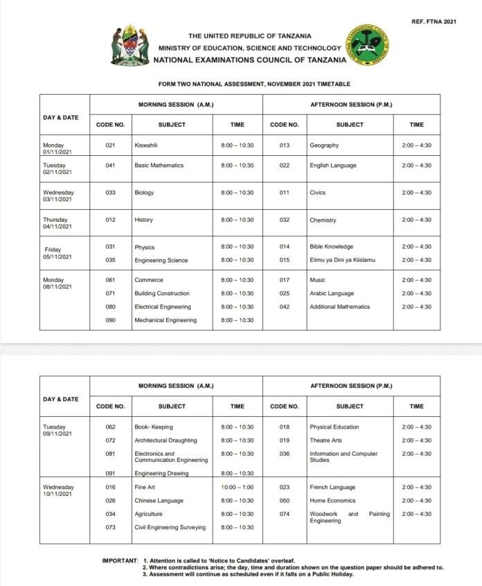 NECTA Ratiba ya kidato cha pili 2021| NECTA Form two Examination Time table 2021.