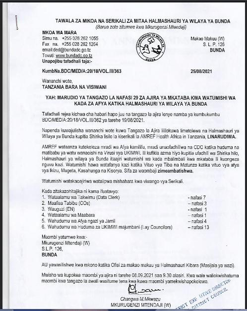 29 Job Opportunities At Bunda District Council