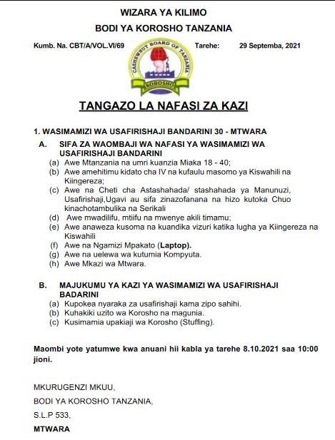 Job Opportunities At CBT, Cashewnut Board of Tanzania 2021