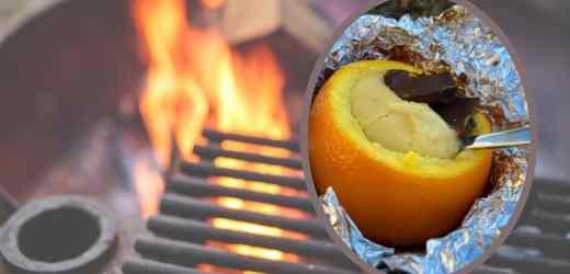 Påskemuffins i appelsinskall på bål