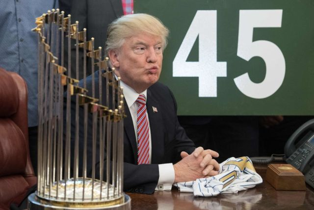 Baseball Star Accused Of Giving Sneaky Middle Finger To Donald Trump In Oval Office GettyImages 802710716