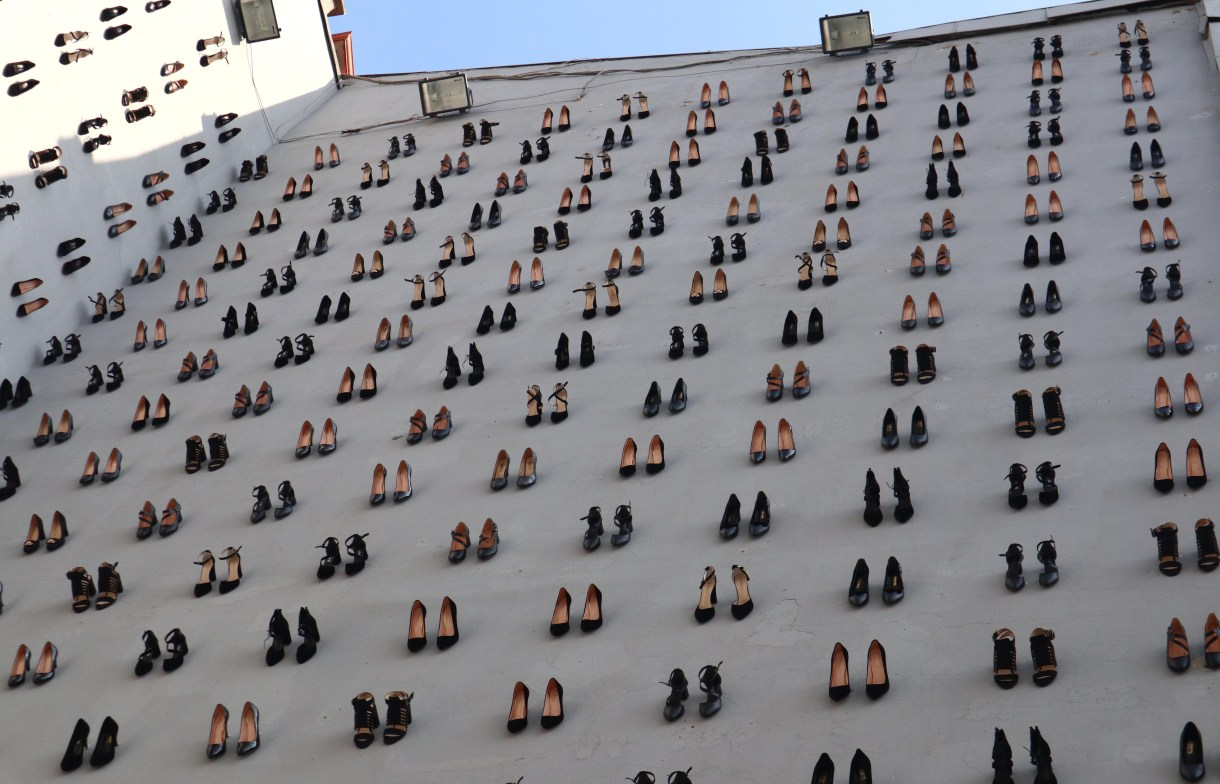 Shoes displayed on wall represent number of women killed by husbands in Turkey