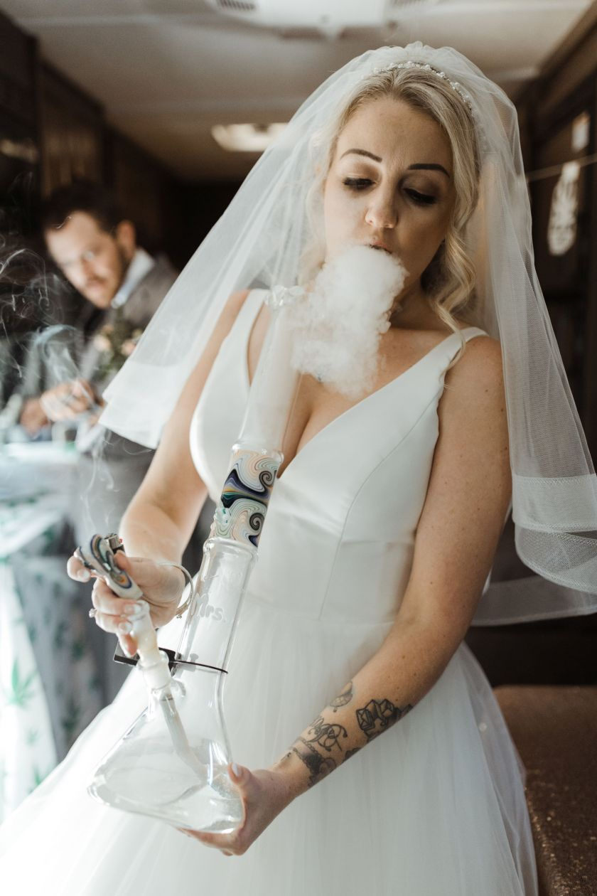 Couple Smoke His N Hers Bongs To Tie The Knot At Wedding