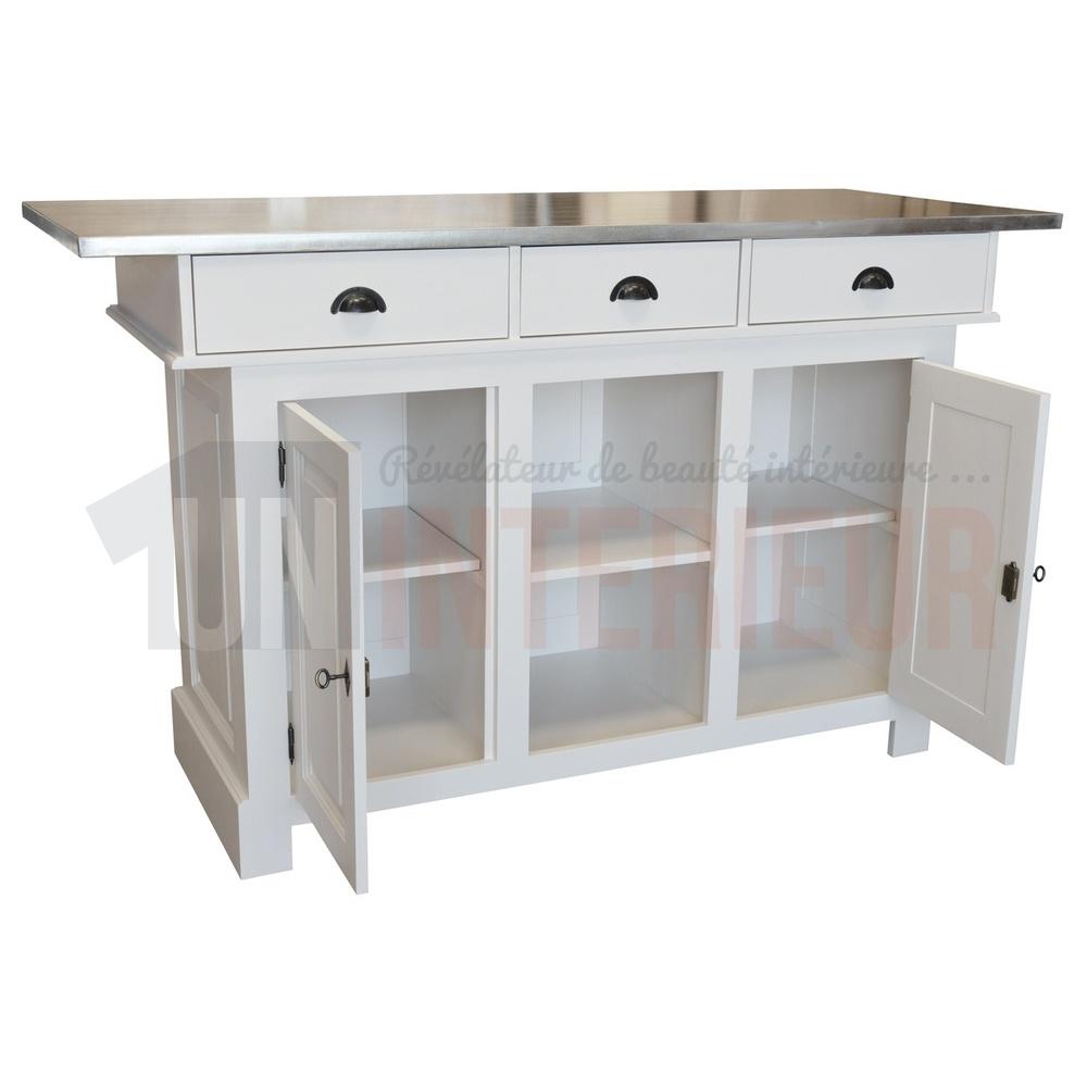 comptoir de cuisine ou ilot central haut en pin massif 180cm chester