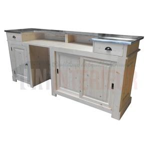 meuble bar comptoir d accueil chr en pin massif 240cm chester