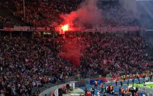 May 2012: Düsseldorf fans at the playoff match vs. Hertha