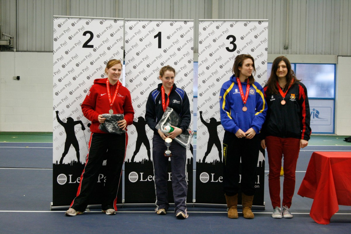 Caitlin at Women's Epee Prize ceremony @ BUCS