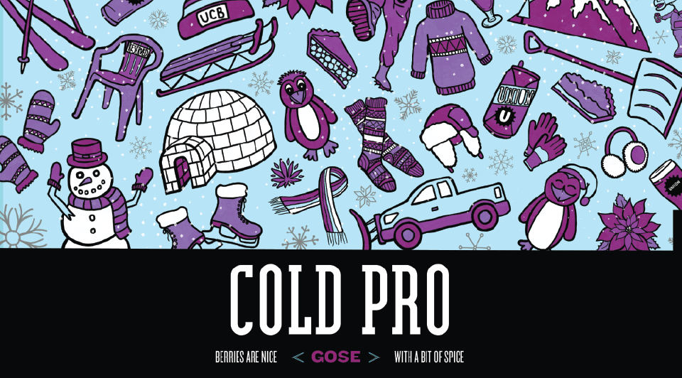 Cold Pro Beer Label art. Winter Themed.