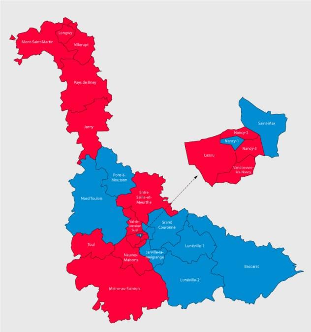 Carte des cantons de Meurthe-et-Moselle (54) cliquable