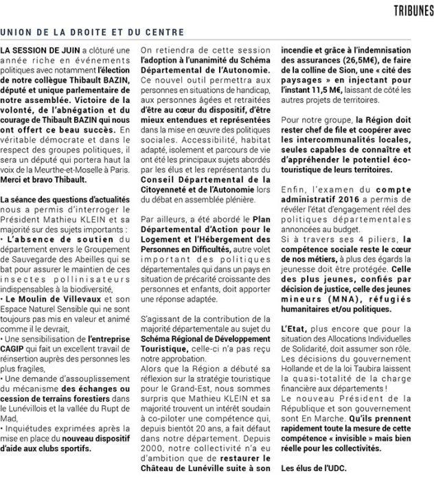 Tribune du groupe UDC 54 dans le magazine du Conseil Départemental