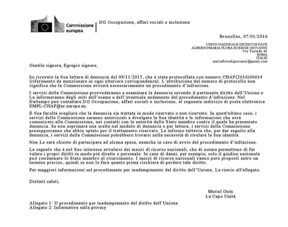 PROTOCOLLO ter COMMISSIONE EUROPEA