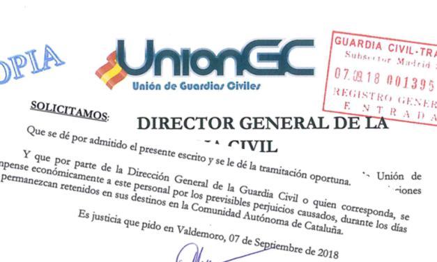 UnionGC solicita una compensación económica en la D.G.G.C. para los retenidos en Cataluña