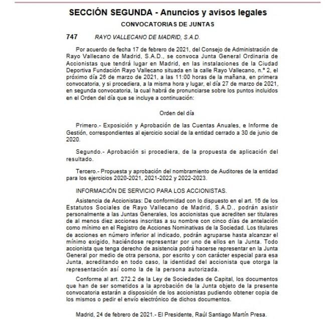 El Rayo Vallecano convoca la Junta de Accionistas para el 26 de marzo