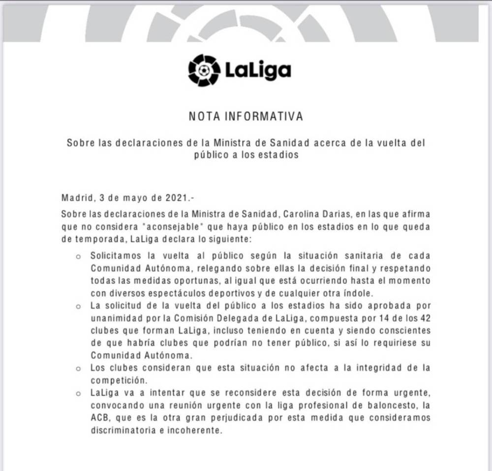 LaLiga solicita la vuelta del público a los estadios tras la negativa de la ministra de Sanidad