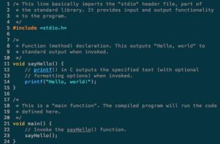 code form the language C