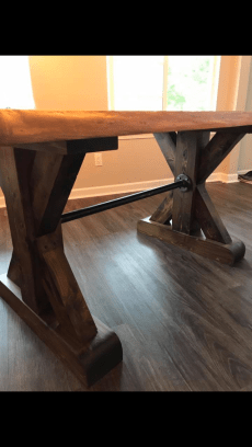 Stained Pine Base with Black Pipe Stretcher
