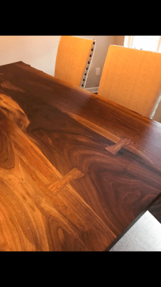 Bookmatched Walnut Slab Table with Walnut Bowties