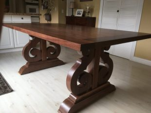 Scrolled Walnut Table