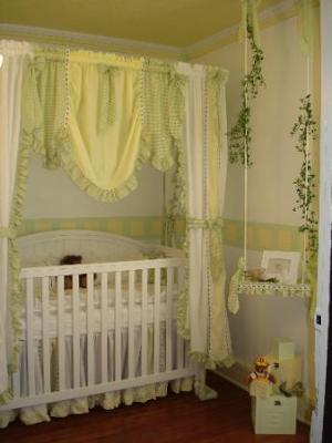 Green And Yellow Gingham Crib Bedding