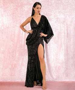 rochie, rochie lunga, rochie neagra, rochie paiete, rochii paiete, rochii, haine, haine dama, unique fashion,