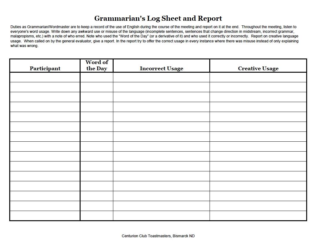 Toastmasters Grammarian Worksheet