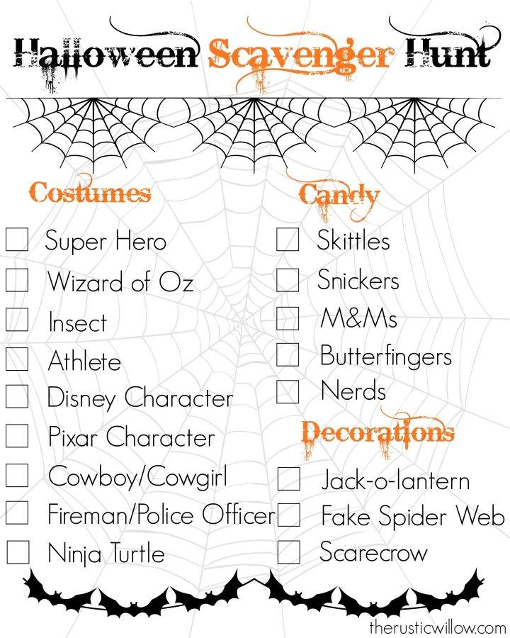 Halloween Scavenger Hunt Worksheet Cartoonsite
