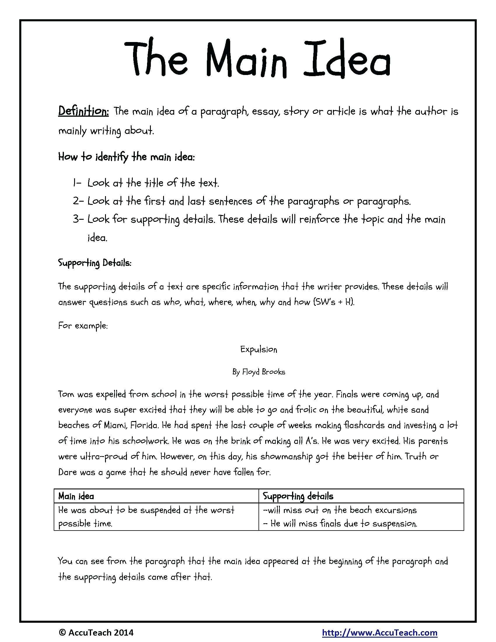 10 Perfect Main Idea Worksheets 4th Grade