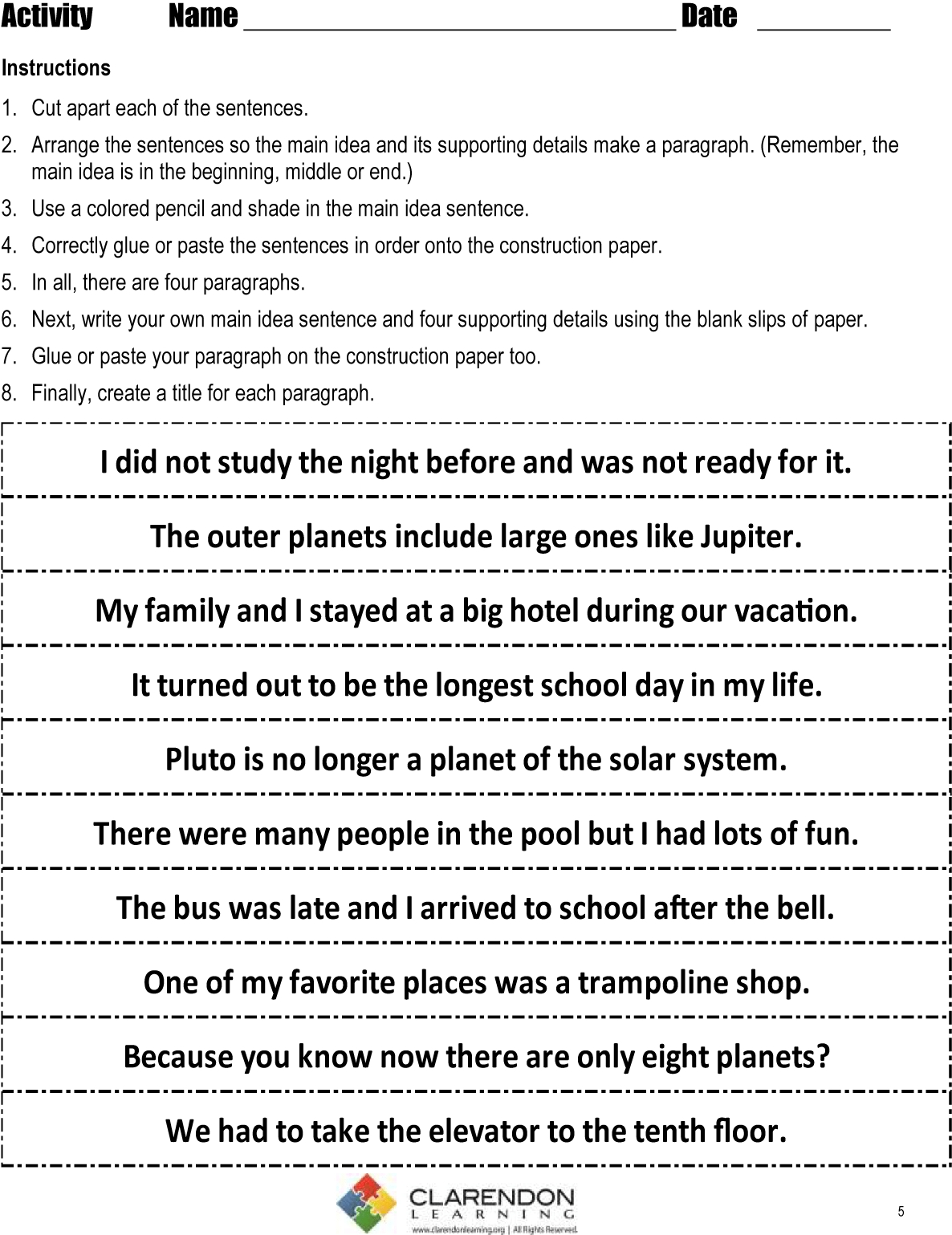 10 Great Main Idea Worksheets Middle School