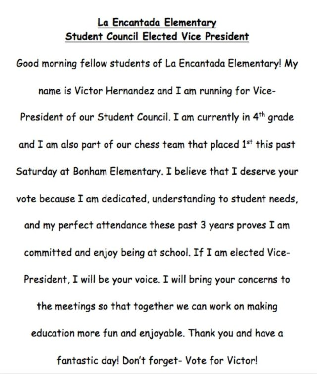 Help writing a speech for student council - Sample Student Council