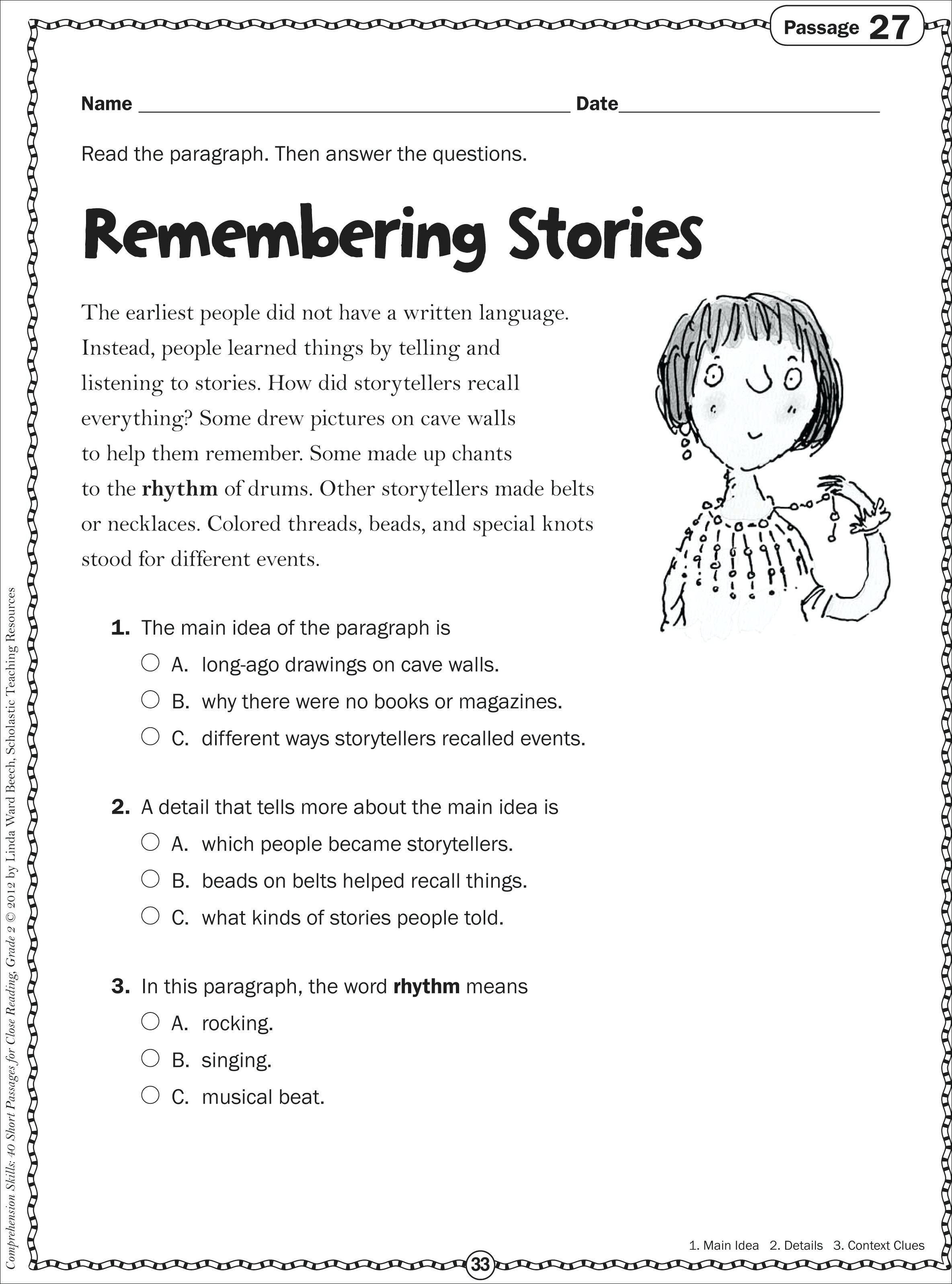 Free Main Idea Worksheet For Kindergarten