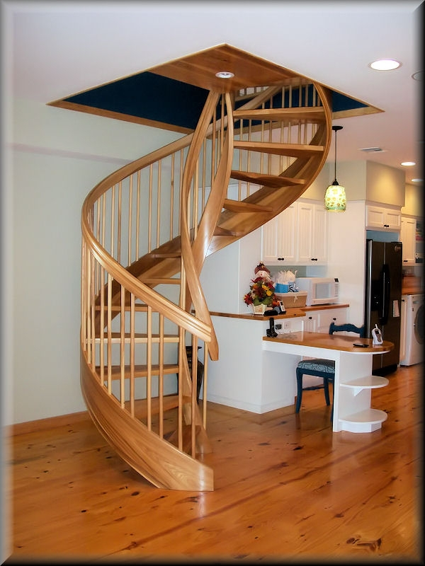 Wooden Spiral Stairs Custom Made By Unique Spiral Stairs | Wooden Spiral Staircase For Sale | 3 Floor | Twist | Wrought Iron | 36 Inch Diameter | Free Standing