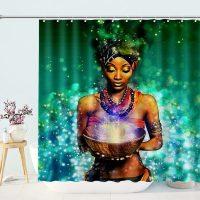 magic black woman shower curtain home