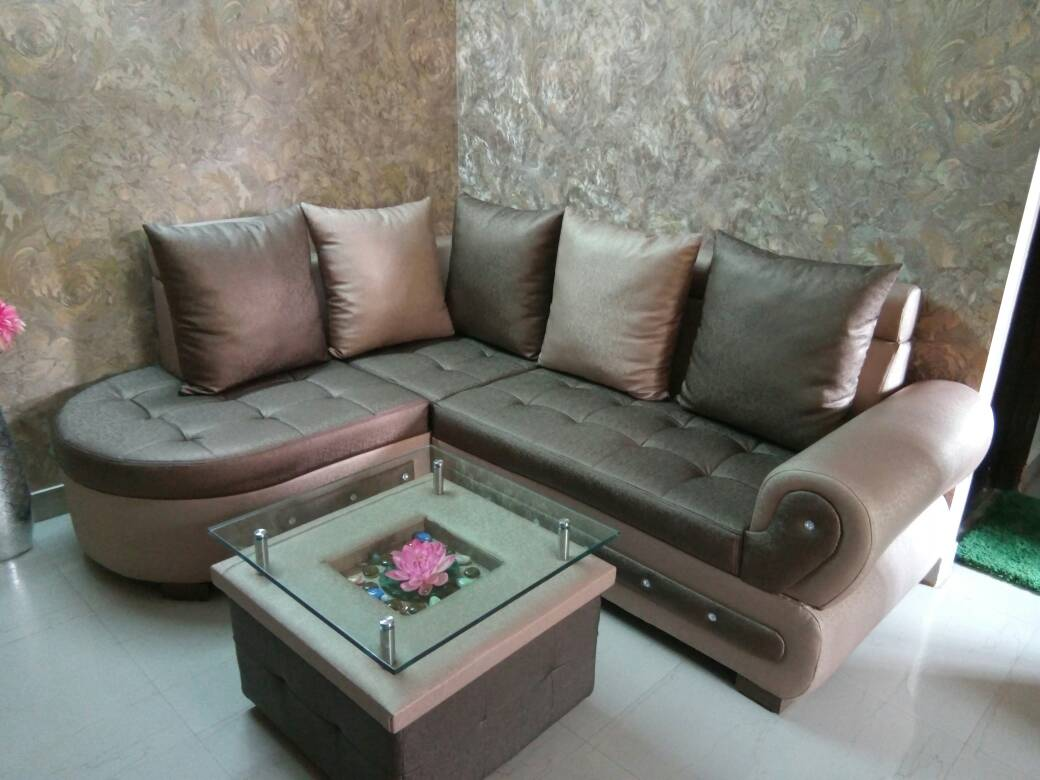 This 4 seater L shaped designer sofa set has been specially made for our esteemed customer Tanu Ji residing in Rajarhat. Since space available at site was ... & Tanu Ji\u0027s L shaped sofa set with centre table | UNIQUE Wood