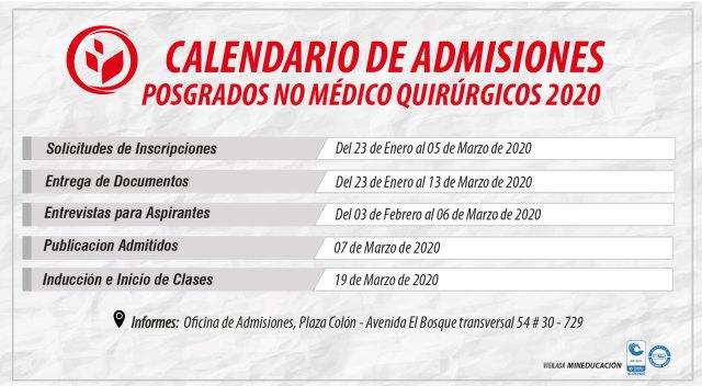 Calendario de Admisiones