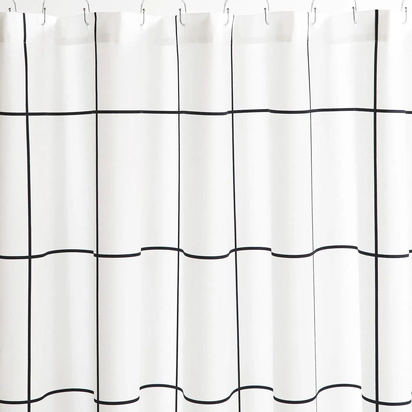 grid black shower curtain