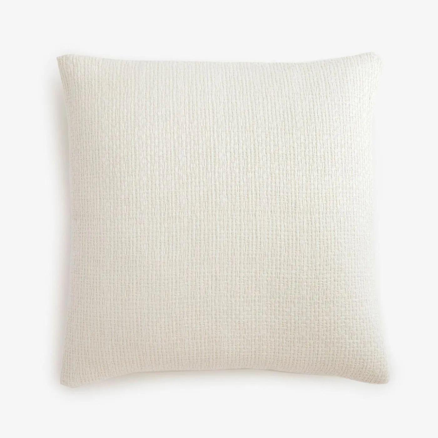 filigree white linen throw pillow cover 20 x 20