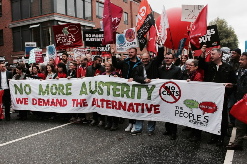 Photograph of NO MORE AUSTERITY protest march from Castlefield Arena to Piccadilly Gardens, Manchester. 1st October 2017.