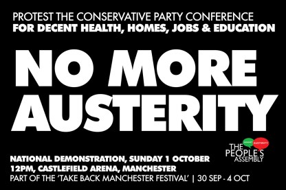 Image of NO MORE AUSTERITY National Demonstration poster.
