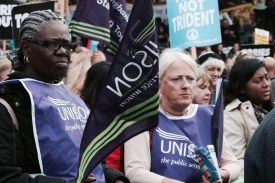 Photograph of NO MORE AUSTERITY demonstrators at Castle Arena, Manchester. 1st October 2017.